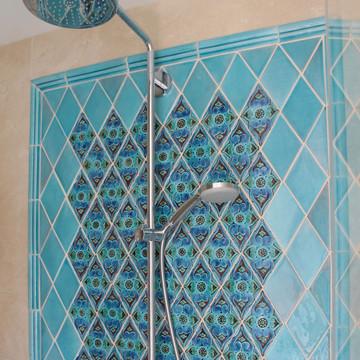 Handmade tiles bathroom Mandala diamond turquoise