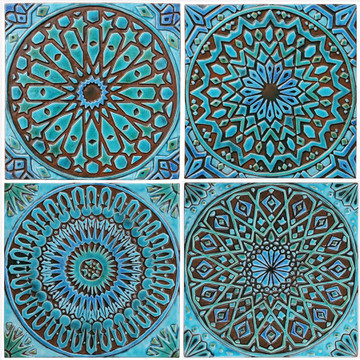 Turquoise handmade tiles with decorative relief. Large decorative tiles handmade in Spain.