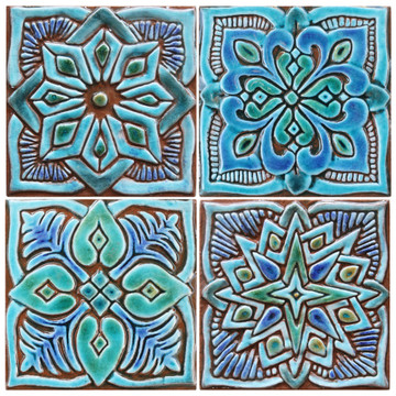 Turquoise moroccan handmade tile with decorative relief. Decorative tile handmade in Spain.