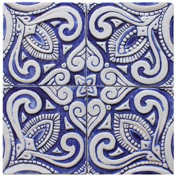 decorative tile - susama - blue & white [15cm]