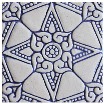 decorative tile - amara - blue & white [15cm]
