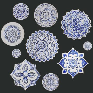Ceramic wall art - Mandala - Circular Designs  - Blue&White