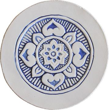 Wall decoration Mandala 21cm with Border - Blue&White