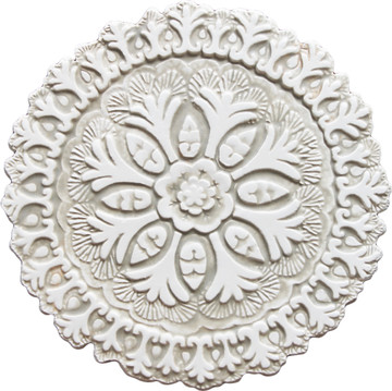 Suzani ceramic wall art #4 - Cutout White&Beige