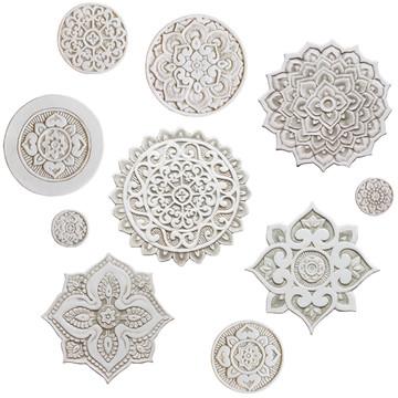 Ceramic wall art - Mandala - Circular Designs  21cm - Beige