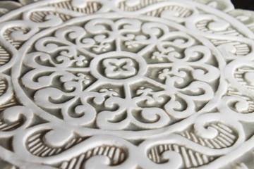 Ceramic wall art - Mandala Cutout - #1 - Beige-Zoom