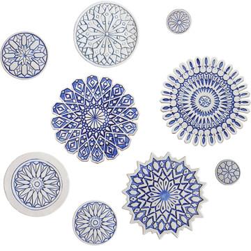 Wall decoration Moroccan circle designs blue & white