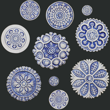 Suzani Ceramic Circles Wall Art Blue&White