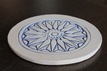 Moroccan ceramic wall art angle blue & white