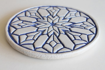 Moroccan ceramic wall art angle blue & white