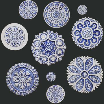 Suzani Ceramic Circles Wall Art Blue&White