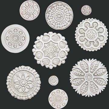 Suzani Ceramic Circles Wall Art Beige&White