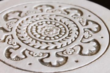 Moroc ceramic wall art #1 21cm - Cutout Beige&White - zoom