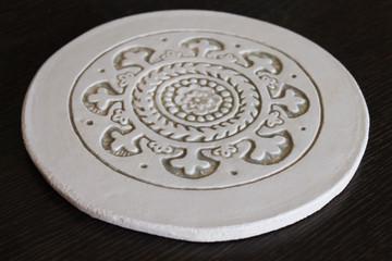 Moroc ceramic wall art  21cm - Border Beige&White - Angle