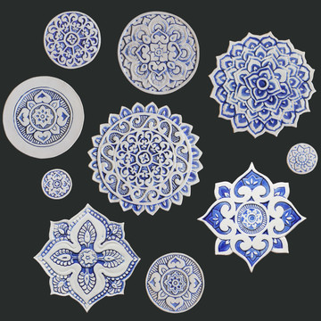 Ceramic wall art - Mandala - Circular Designs  - Blue&White