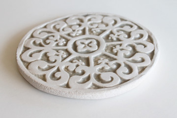 Ceramic wall art - Mandala - Circular Designs  15cm - Beige-Angle