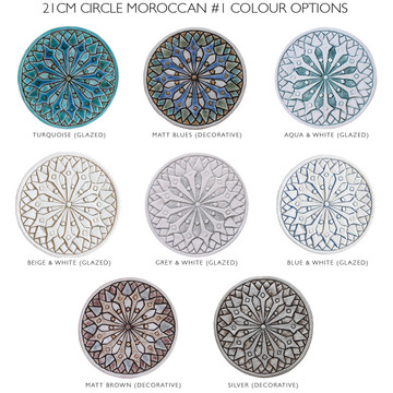 "Ceramic Wall Art Circle Blue moroccan #1 [21cm/8.3""]"