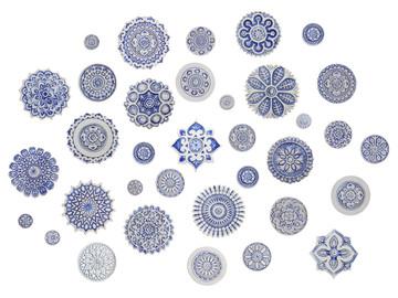 Ceramic wall art SET3 Blue circles Mandala#2