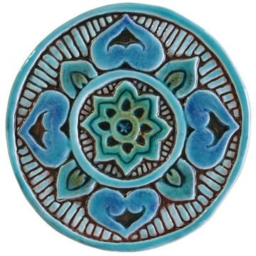 Ceramic wall art SET3 Turquoise circles Mandala #1
