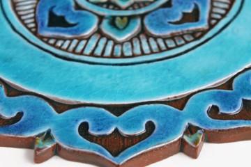 Ceramic wall art SET3 Turquoise circles Mandalita liso