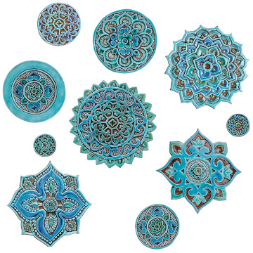 Ceramic wall art SET34 Turquoise circles