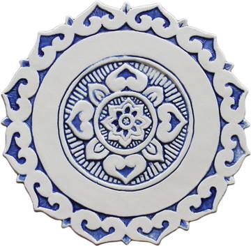 Ceramic wall art SET3 Blue circles Mandalita liso