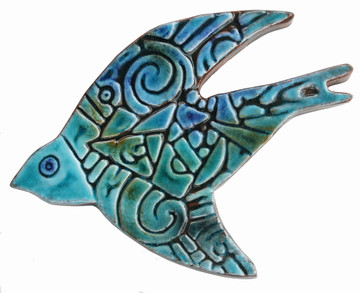Create your unique wall art installation with these ceramic flying birds. Ceramic wall art for kitchens, bathrooms and outdoor wall decor. Our handmade tiles make a beautiful wall art installations.