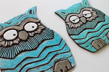 Ceramic Wall Art Jade Owl #2 [25x23cm]