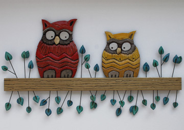 Wall Art Owl  Couple - Large - Context
