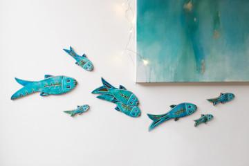 Ceramic Wall Art Fish Abstract slim Turquoise SET10