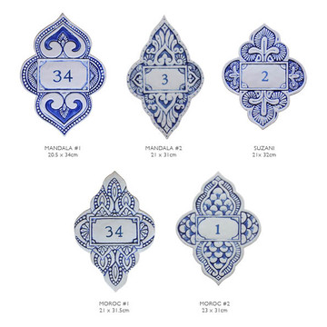 Handmade tile ceramic number plaque for house entrance.  Glazed in blue and white. Made in Spain.