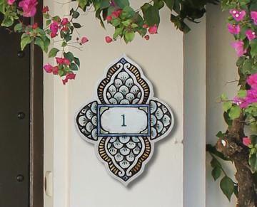 Handmade tile ceramic number plaque for house entrance.  Glazed in matt greens. Made in Spain.