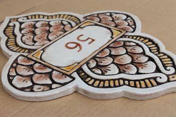 Ceramic House Number matt brown moroccan #2