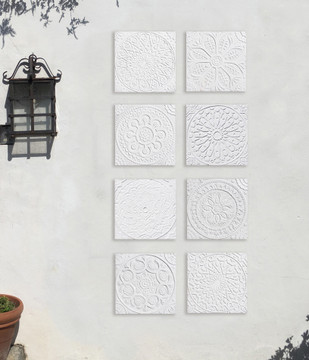 "Handmade Tiles Set4 White Relief Moroccan [30cm/11.8""]"