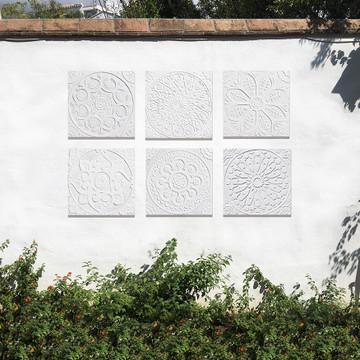 "Handmade Tiles Set4 White Relief Suzani [30cm/11.8""]"