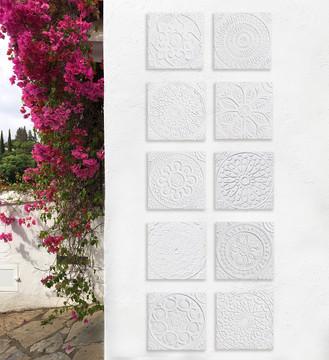 """Handmade Tiles Set3 White Relief  [30cm/11.8""""]"""