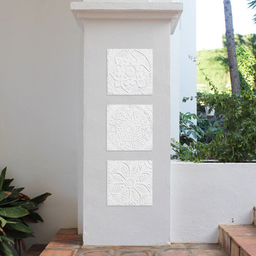 "Handmade Tiles Set6 White Relief [30cm/11.8""]"