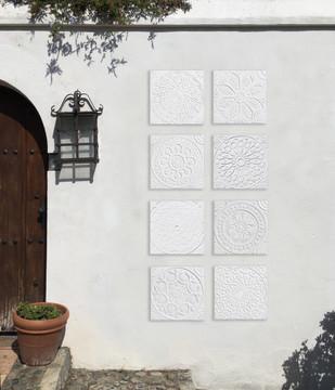 """Handmade Tiles Set10 White Relief [30cm/11.8""""]"""