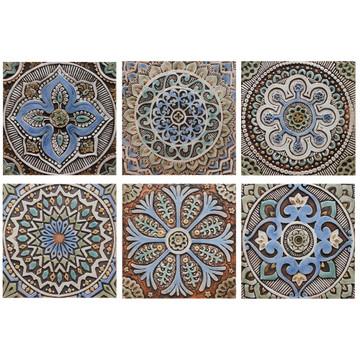 """Handmade Tiles Set6 matt blue [30cm/11.8""""]"""