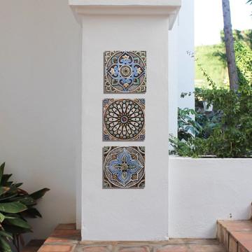 """Handmade Tile matt blue Mandala #2 [30cm/11.8""""]"""