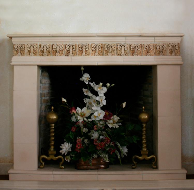 Custom chimney made from handmade ceramic tiles.