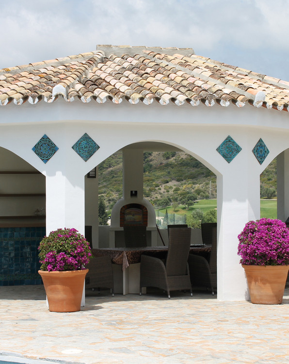 Architectural ceramics decoration on gazebo made from handmade tiles