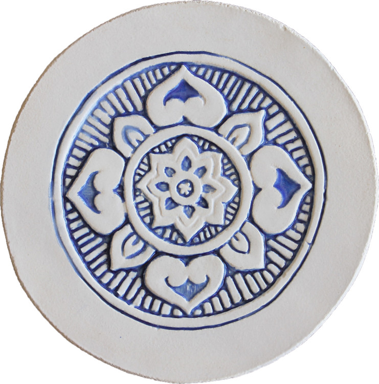 Wall decoration Mandala 21cm with Border - Blue&White
