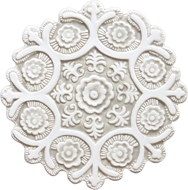 Suzani ceramic wall art #1 - Cutout White&Beige