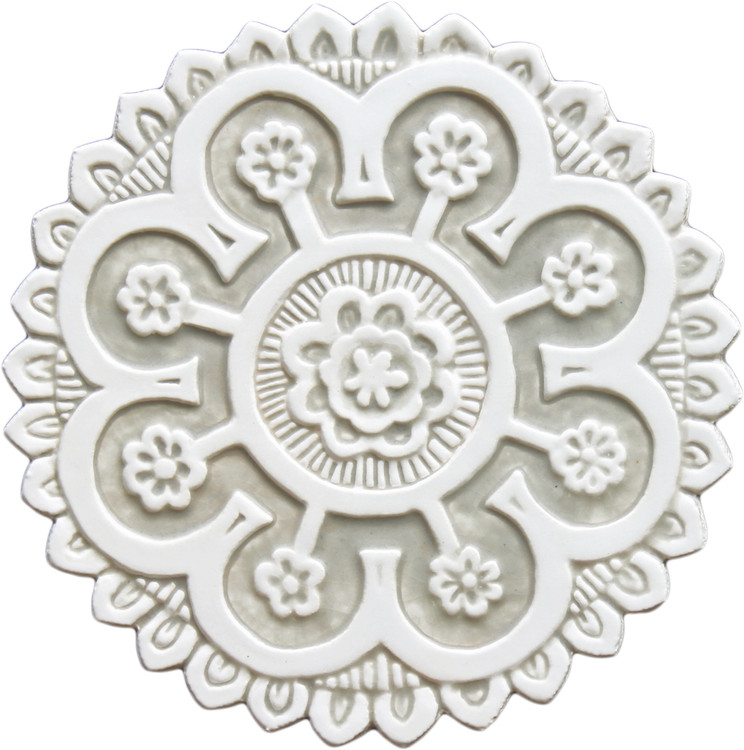 Suzani ceramic wall art #2 - Cutout White&Beige