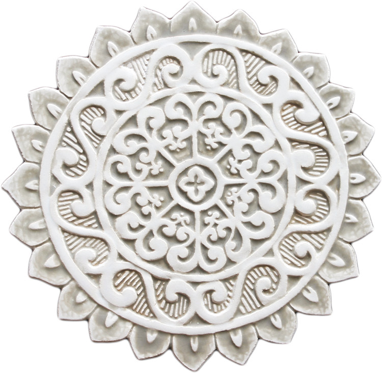 Ceramic wall art - Mandala Cutout - #1 - Beige