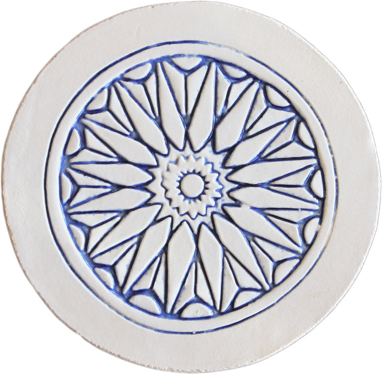 Moroccan circle wall art  border blue