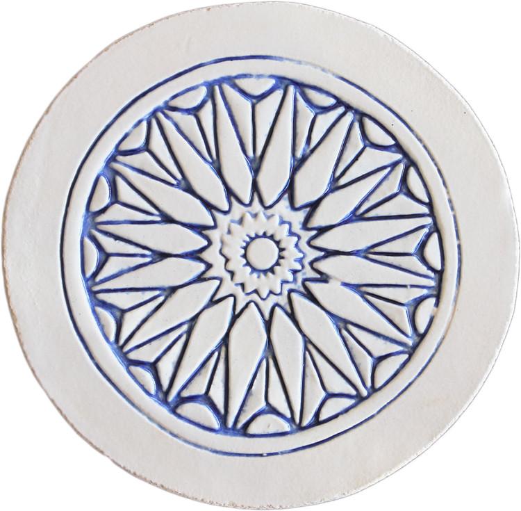 Moroccan circle wall art  border blue