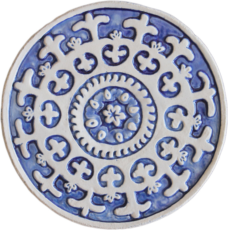 Wall decoration Suzani Circular 21cm Blue&White