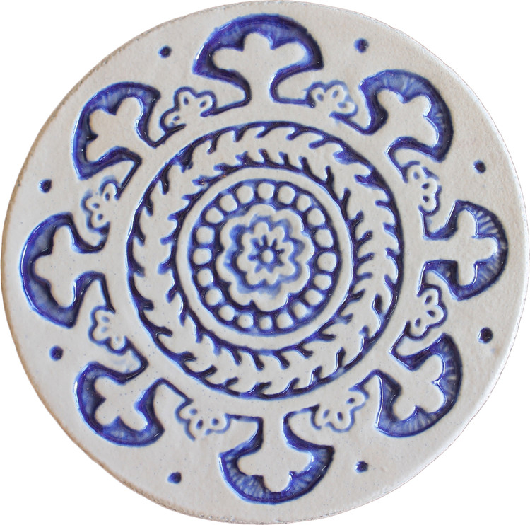 Wall decoration Suzani#1 Circular 15cm - Blue&White